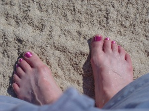 White sand and pretty toes!