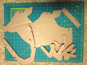 Cardboard pieces ready to make a reindeer